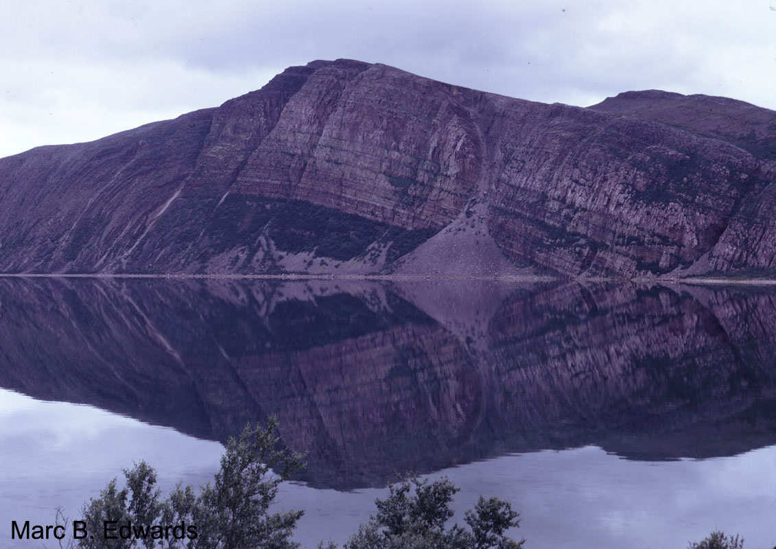 Gamasfjellet at Leirpollen, Austertana. The southern slope of this mountain was subsequently developed as a quartzite mine, permanently  disfiguring this spectacular landmark.