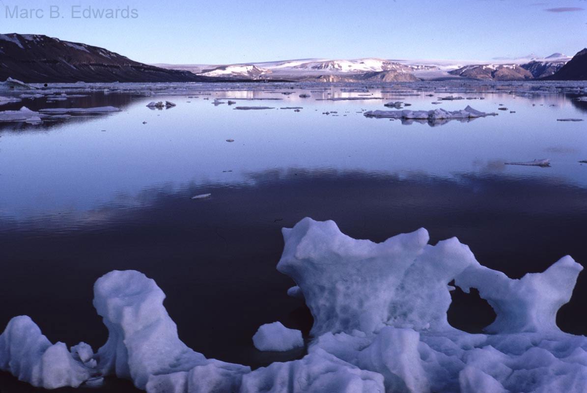 Icebergs in Lomfjord, Spitsbergen.