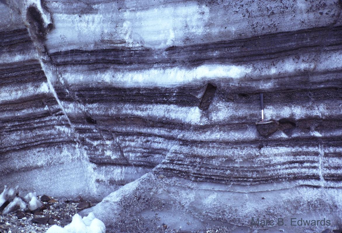 Debris bands in glacier base, Palanderbuktet, Nordaustlandet Svalbard.