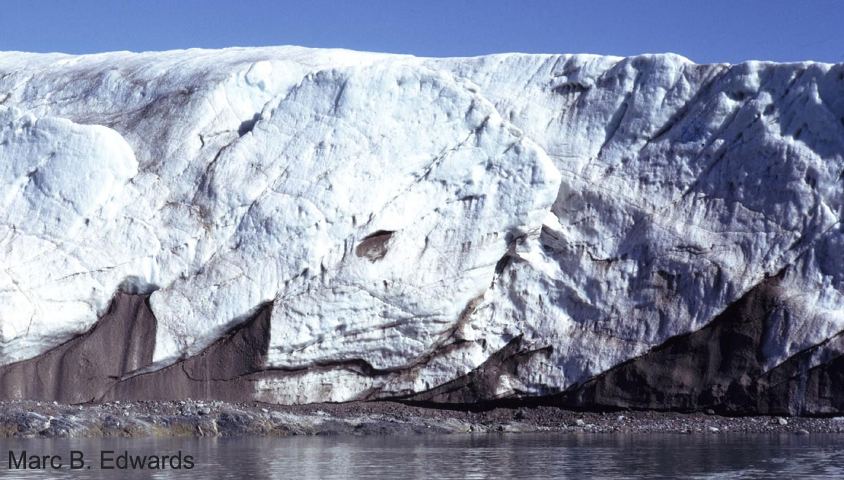 Basal debris thrust up at the terminus of Blomstrandbreen, Svalbard.