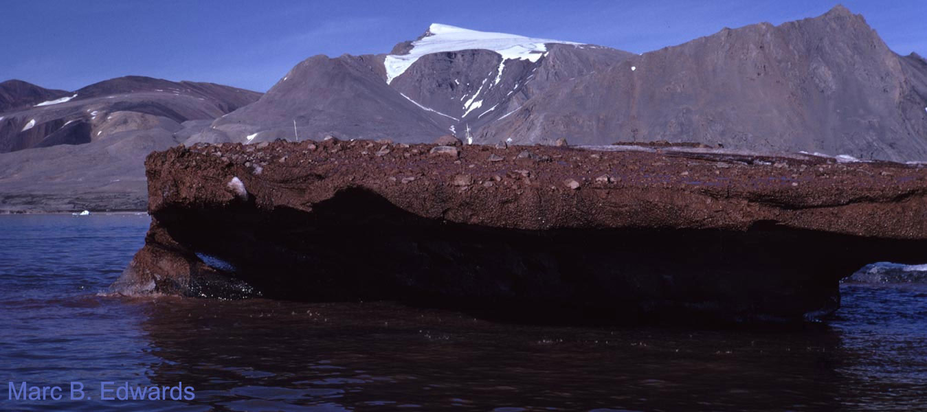 Debris-laden iceberg, inverted glacial basal zone.